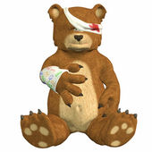 Hurt cartoon bear — Stock Photo
