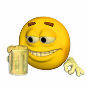 Emoticon Drinking Beer — Stock Photo