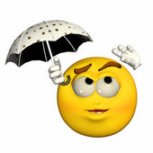 Protecting from the rain Emoticon — Stock Photo
