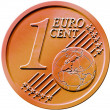 One (1) Cent Euro Coin — Stock Photo