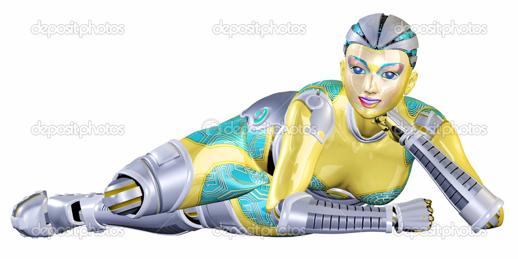 Illustration of a female robot lying down on a white background  Stock Photo #9266549
