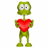 Green Alien In Love — Stock Photo