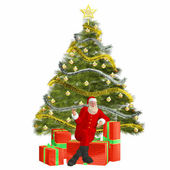 Santa Claus with christmas tree and presents — Stock Photo