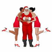 Santa with lady friends — Stock Photo
