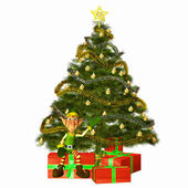 Christmas Elf with presents and tree — Stock Photo
