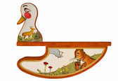 Red Wood Rocking Duck — Zdjęcie stockowe