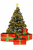 Christmas tree with presents — Stock Photo