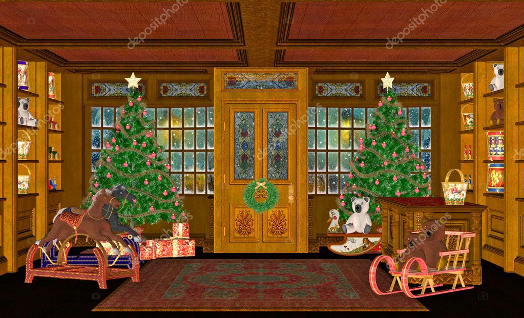 Illustration of a Christmas scene  Stock Photo #9383833