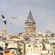Galata Tower in winter - Stock Photo
