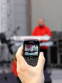 Recording by black phone — Stock Photo