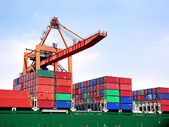 Cargo container stacks — Stock Photo