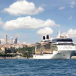 Cruise ship sails out to open sea — Stok fotoğraf