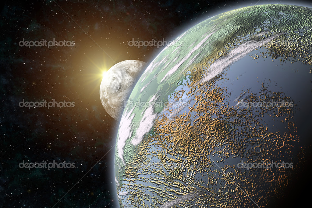 This image shows a terrestrial planet with her moon — Stock Photo #10579325