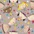 Seamless pattern with happy children and flowers - Stock Photo