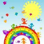 Happy children on a rainbow — Stock Photo #8137360