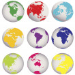 Colored Earth globes — Stock Photo