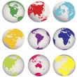 Stock Photo: Colored Earth globes
