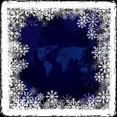 Mapa světa na zamrzlé okno — Stock fotografie