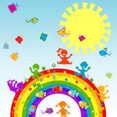 Happy children on a rainbow — Stock Photo