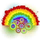 Tło z rainbow i koła — Zdjęcie stockowe