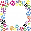 Stock Vector: Frame made of animal paws