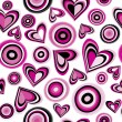 Background with pink hearts and circles — 图库矢量图片