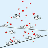Valentine's Day background with birds and hearts — Stockvektor