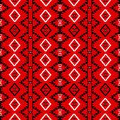 Dikişsiz desen etnik motiflerle kırmızı halı, tuval — Stok Vektör