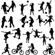 图库矢量图片: Group of active children, hand drawn silhouettes of kids playing