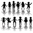Set of children silhouettes — Stock Vector