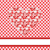 Textile patchwork heart over tablecloth — Stock Vector