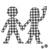 Couple de patchwork pour le textile enfants — Vecteur