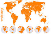 Orange detailed world map with Earth globes — Stock Vector