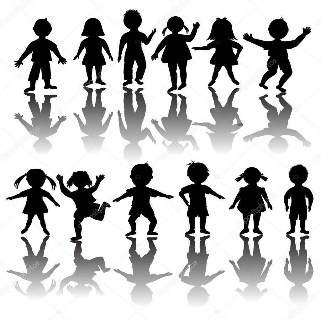 组的儿童剪影– 图库插图