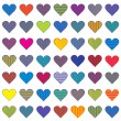 Stock Vector: Set of colored stylized hearts