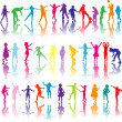 Royalty-Free Stock Vector Image: Set of colored children silhouettes playing