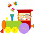 Children background with steam engine — Stock Vector