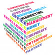 Abstract colored cube with  business terms - Stok Vektör