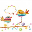 Royalty-Free Stock : Card with cute birds sitting on a tree and chatting