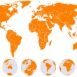 Royalty-Free Stock Vector Image: Orange detailed world map with Earth globes
