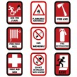 Stock Vector: Fire caution signs