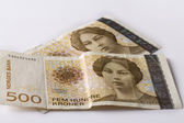Norwegian five hundred crones paper banknotes — Stock Photo