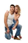 Lucky pair lad and girl — Stock Photo