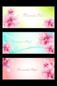 Conjunto de tarjetas de estilo romántico con flores beautyful — Vector de stock