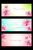 Set of romantic style cards with beautyful flowers — Stock Vector