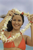 Hawaiian woman in bikini on the beach — Stock Photo