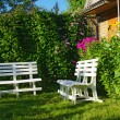 White benches in secluded corner garden — Stock Photo #9267170