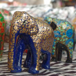 Handcraft wood elephant sculptures — Stock Photo