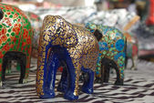 Handcraft hout olifant sculpturen — Stockfoto