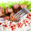 Fork on dish with rice and meat — Stock Photo #10029924